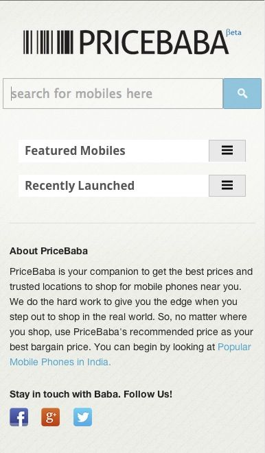 PriceBaba Home Mobile RWD