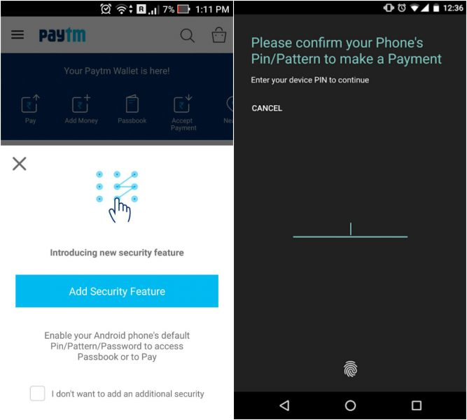 Paytm Security Feature