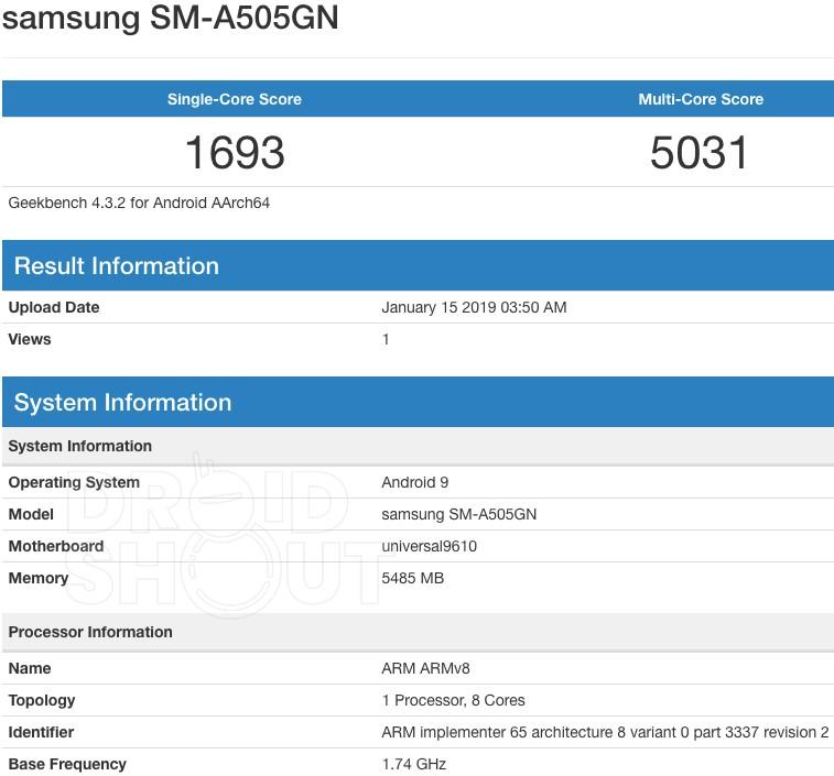 Galaxy A50 SM-A505GN Geekbench Listing