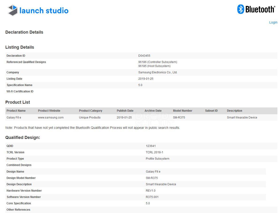 Samsung SM-R375 Galaxy Fit Bluetooth Certification