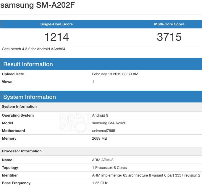 Samsung Galaxy A20 SM-A202F Geekbench