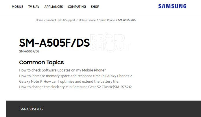 Samsung Galaxy A50 India Support Page