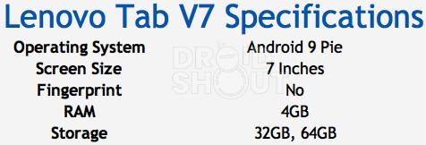 Lenovo Tab V7 Specifications