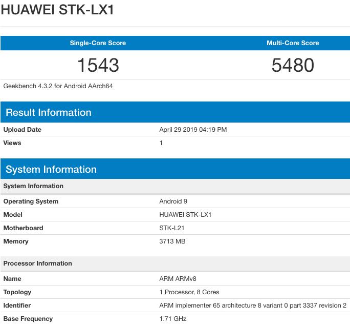 Huawei STK-LX1 Geekbench