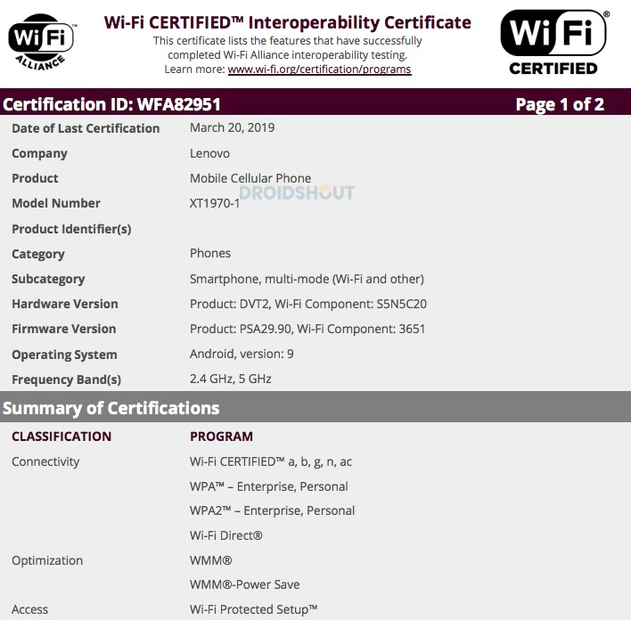 Motorola One Vision Wi-Fi Certification
