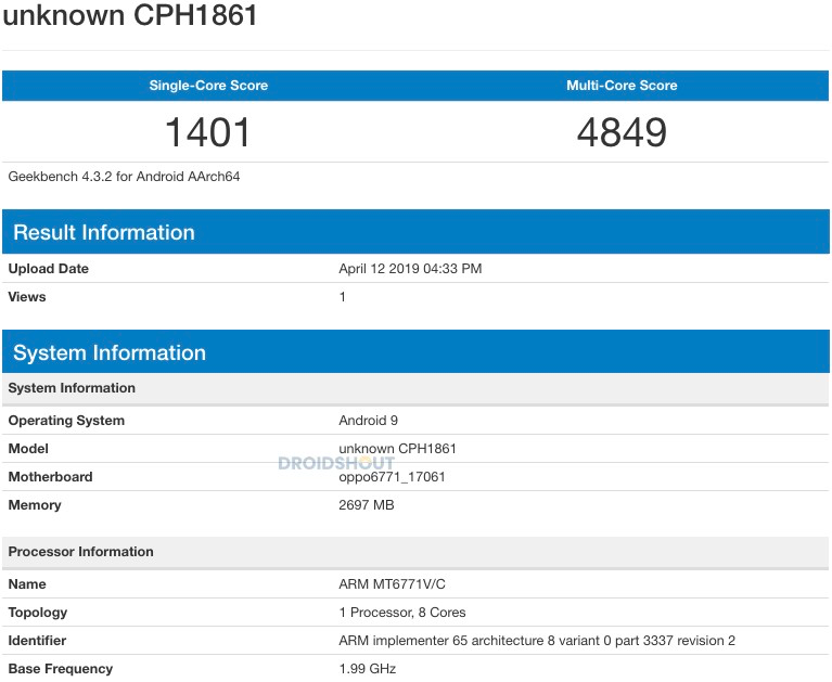 Realme 1 Running Android Pie on Geekbench