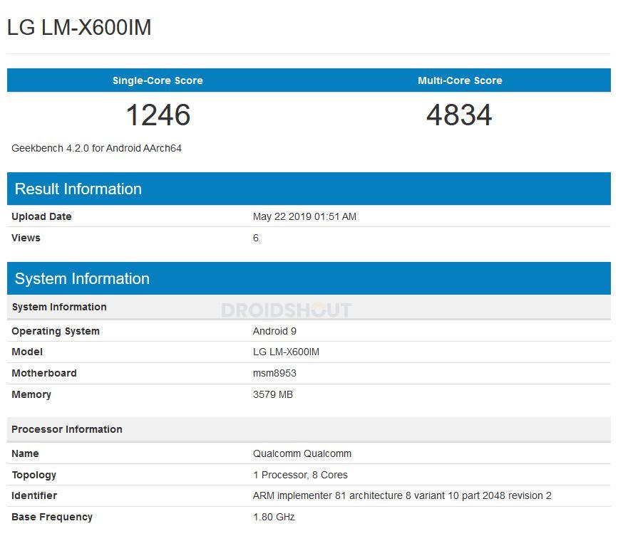 LG LM-X600IM Geekbench
