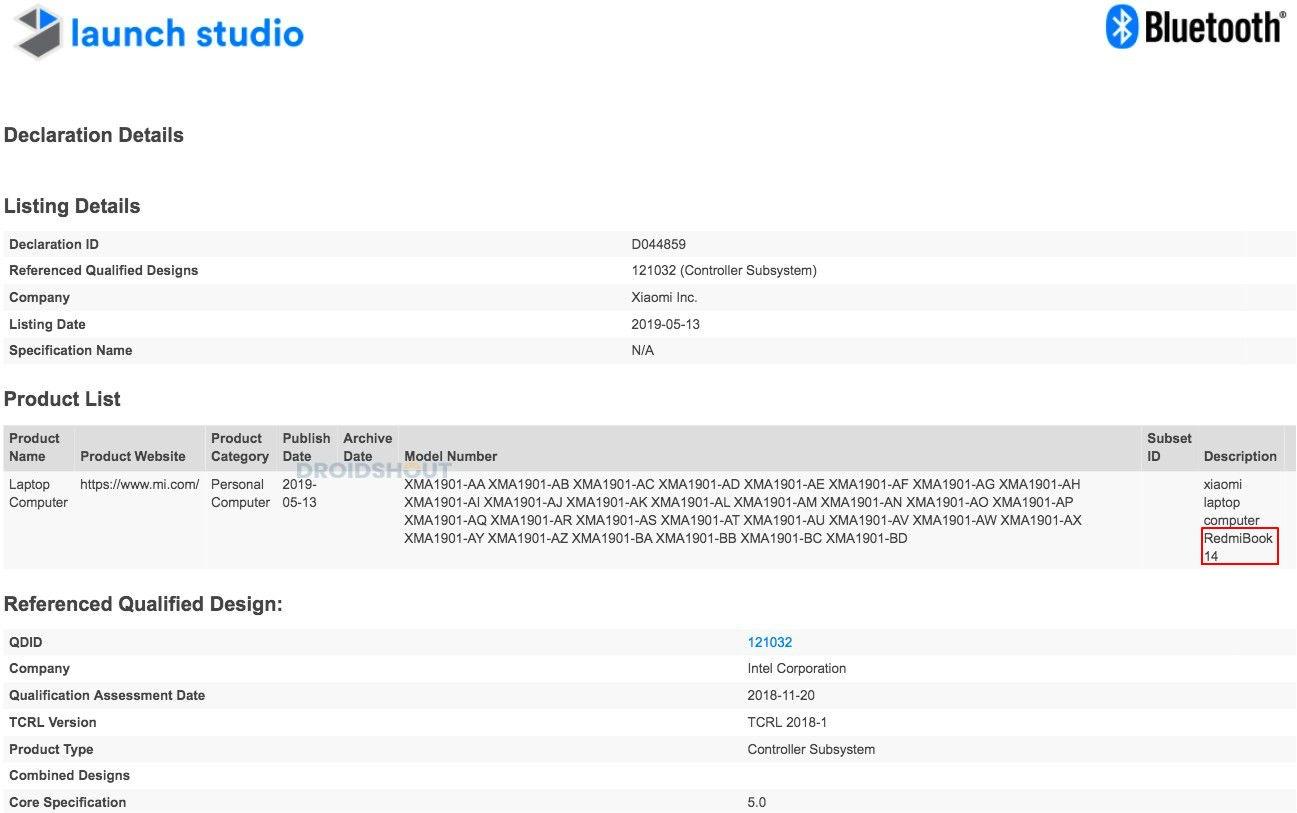 RedmiBook 14 Bluetooth Certificate