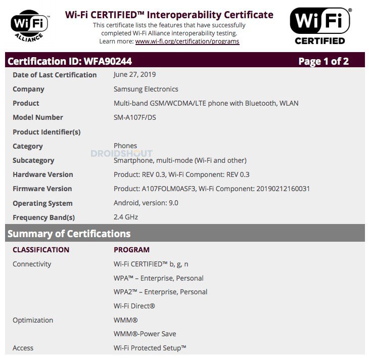 Galaxy A10s Wi-Fi