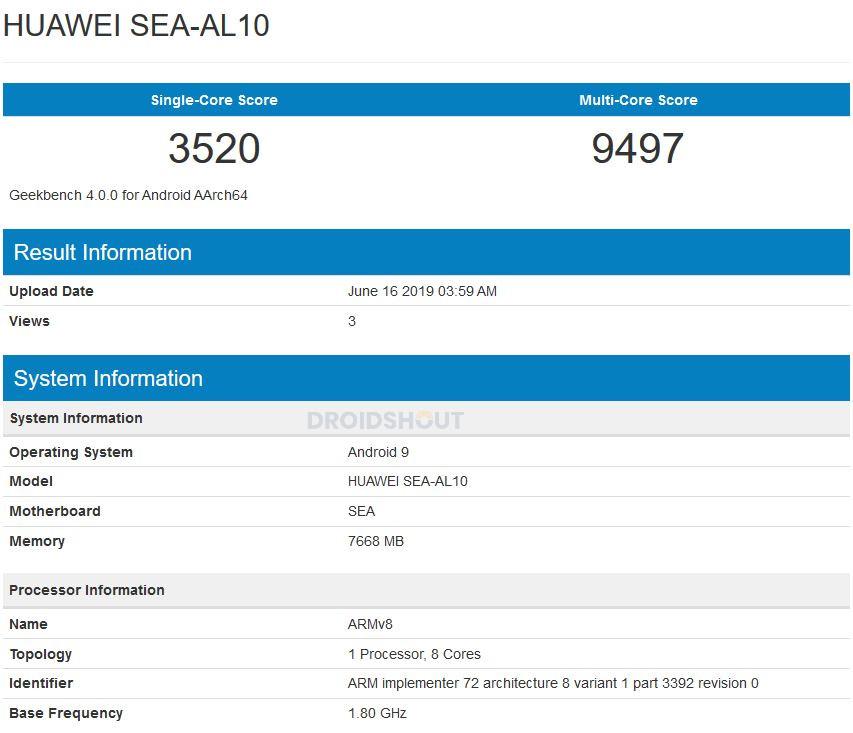 Huawei Nova 5 SEA-AL10 Geekbench
