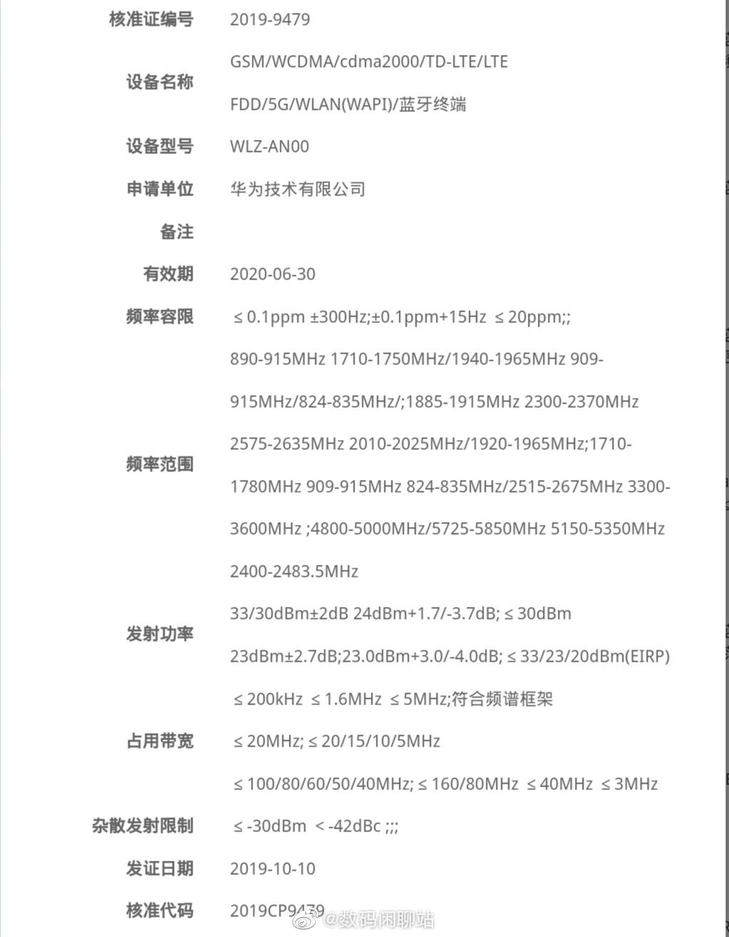 Huawei Nova 6 5G MIIT