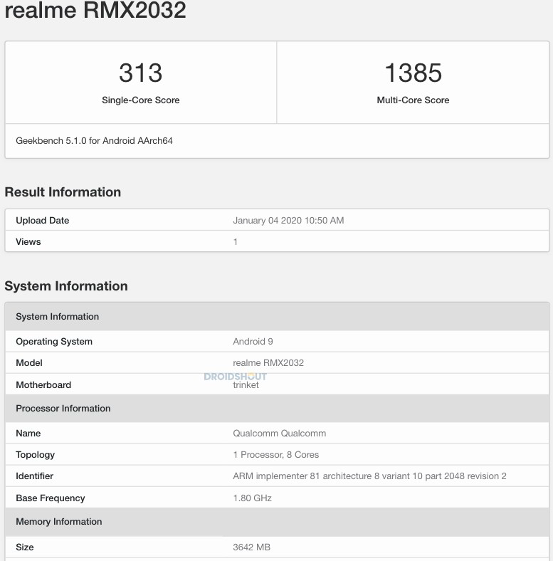 rmx2032 geekbench
